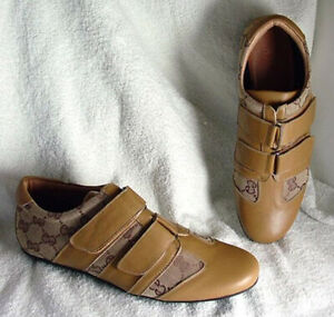 N.Y.L.A. Tan Leather Canvas Casual Shoes Flats  Womens size 8 NEW