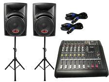 Das PA-SET 12 Powermixer Pa Anlage DJ 2 Wege 25 cm Lautsprecher Boxen USB Stativ