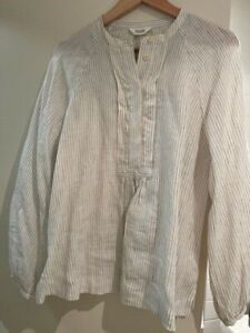 TOAST linen overshirt sz M soft white & black stripes