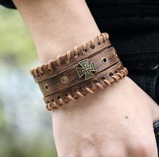 Men/Women Vintage Wide Weave Cross Genuine Leather Wristband/ Leather Bracelet