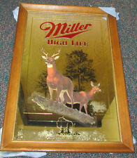 1990 MILLER HIGH LIFE WHITE TAILED DEER WISCONSIN MIRROR ***