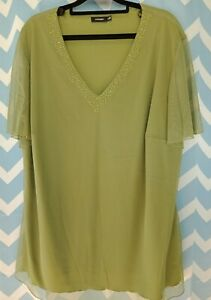 WOMEN'S CLOTHES by Eve Hunter SIZE 20 - Green lined sheer blouse top with beads