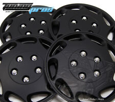 """Snap-On Hubcap 15"""" Inch Wheel Rim Skin Cover 4pcs Matte Black - 15 Inches #807"""