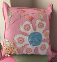 Pottery Barn Kids Pink Embroidered Flower Patches SHAM 16x16 Cover & Insert