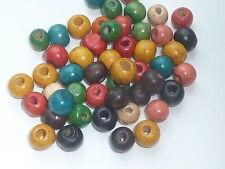 50 cuentas de madera coloreadas, 8mm Diámetro Aprox 3mm Hold-Colores Mezclados