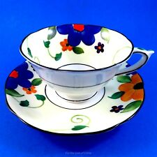 Hand Painted on Vellum China Blue Floral Paragon Tea Cup and Saucer Set