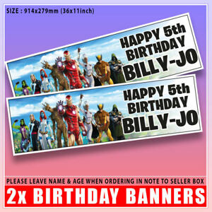 """Personalised FORTNITE Birthday MARVEL Banner x2 Any Age, Any Name - 36 """"x 11"""""""