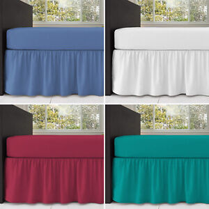 Fitted Valance Sheet Plain Dyed Poly-Cotton Bed Sheet Single Double & King Sizes