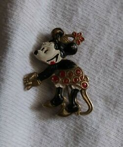 Vintage antique 1930's Disney Minnie mouse pin back brooch
