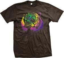 Tiger Spray Paint Dripping Cat Rainbow Colors Jungle Predator Claw Men's T-Shirt