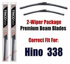 Wipers 2-Pack Premium Beam Wiper Blades fits 2005+ Hino 338 - 19260/220