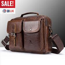 Gent Men Vintage Genuine Leather Business Handbag Crossbody Shoulder Bag Tote