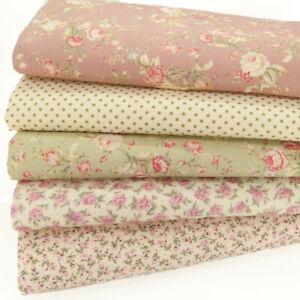 FAT QUARTER BUNDLE Cotton Fabric Vintage Rose Pink Spot Ditsy Floral Material
