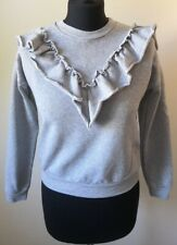 Lipsy London Frill Front Sweat Top Grey Womens Size 6