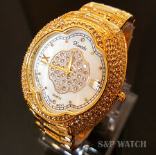 Luxury 14K Gold Finish Hip Hop Iced Out Bracelet Lab Diamond Roman Numeral Watch