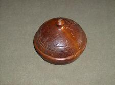 Vintage antique varnished lathe patina turned covered wooden candy or nuts bowl