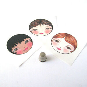 Doll Making Supplies / Set of 3 Sew in Fabric Doll Faces