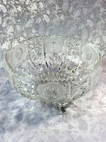 Large vintage/ Antique Footed Crystal Bowl in Cut/ Pressed Glass & Sawtooth Edge