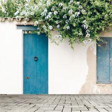 Background Photo Vinyl 8x8ft Studio Props Backdrop Floral Scene Blue Door Floor