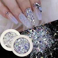 8 Boxes/Set Nail Glitter Sequins Flakes Sparkly 3D Hexagon Nail Art Decoration^^