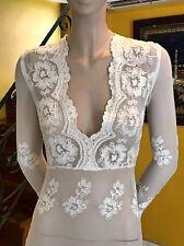 Plus size 22W  long sleeve White handmade Lace V neck Knee pencil sheer dress