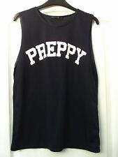 ATMOSPHERE NAVY BLUE WHITE PREPPY SLOGAN FRONT SLEEVELESS TUNIC VEST TANK TOP 12