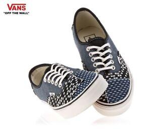 VANS Authentic Patchwork Denim Blue Street Style Fashion Sneakers,Shoes Men's