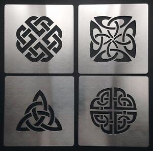 No1 Celtic Knot Love Dara Trinity Quaternary Shield Metal Stencil Template 4cm