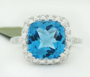 GENUINE 3.92 Cts BLUE TOPAZ & DIAMONDS RING 10K WHITE GOLD * Free Certificate *
