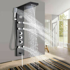 Thermostatic Oil Rubbed Bronze Shower Panel Rain&Waterfall Tower Massage System