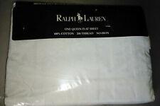 Ralph Lauren Avery White Queen Flat Sheet NEW 100% Cotton Damask Pattern-1993