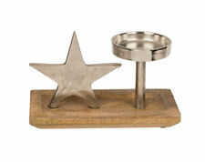 Metall Deko Stern mit Kerzenhalter 22,5 cm auf Holzsockel Wohnaccessoire silber