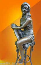ART DECO BRONZE Charlotte SIGNED STATUE FIGURE FIGURINE HOT CAST STATUETTE