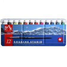 Caran D'Ache Classic Gouache Studio Paint - Metal Tin Set of 12 Tubes & Brush