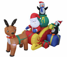 Christmas Inflatable Santa Reindeer Moose Penguin Sled Sleigh Yard Decoration