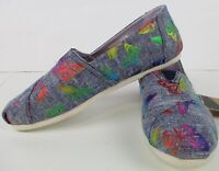 Toms Womens The Venice Collection Classic Rainbow Foil Chambray Butterflies  NIB
