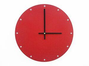 Glitter Red Circle Wall Clock / Shiny Minimalist Metal Art / Industrial Modern