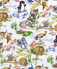 AUSTRALIANA Baby Animals Allover Fabric Sold Per 1/2 Metre 100% Cotton