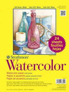 Strathmore 300 Cold Press Watercolor Paper, 9 x 12 Inches, 140 lb, 24 Sheets