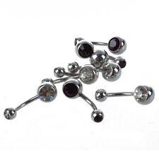 8x Anillo del ombligo joya del cuerpo del titanio de diamante de imitacion S4Q1