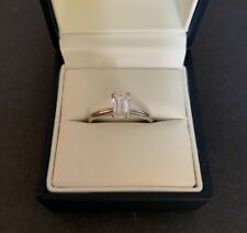 14k Gold 0.7 Ct Emerald Cut Natural H/I-SI3 Diamond Engagement Ring SIze 6.75