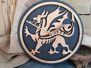 Welsh Dragon Slate & Oak Clock