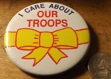 "Appr 2"" diameter DESERT STORM ERA I Care About our Troops Yellow Ribbon Button"
