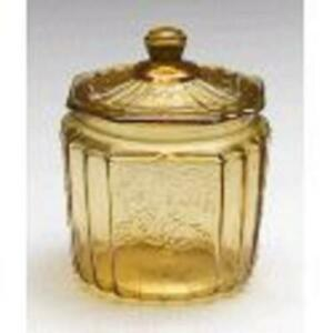 Amber Glass Mayfair Style Cookie Jar or Cracker Jar