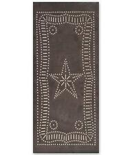 Country new handcrafted Blacken punched tin star cabinet panel / nice