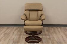 Fjords Alfa Small Recliner and Ottoman in AstroLine Tan with Chocolate Base