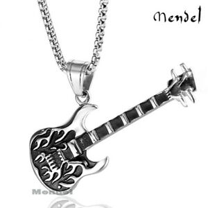 Electric Guitar Pendant Necklace Tibetan Silver Rock Unisex Jewellery Music Gift