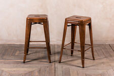 LOW INDUSTRIAL STYLE METAL BAR STOOL COPPER TOLIX STYLE BAR STOOL WITHOUT BACK