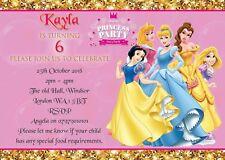 PERSONALISED PRINCESS BIRTHDAY PARTY INVITATIONS GIRLS KIDS INVITES ENVELOPES