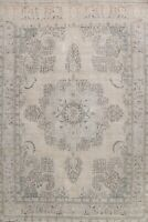 Antique Muted Medallion Tebriz Hand-knotted Distressed Low Pile Area Rug 10'x13'